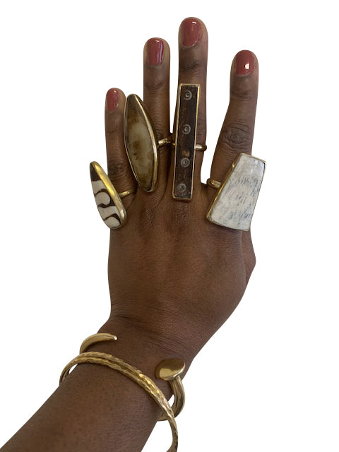 White Bone Statement Fashion Rings
