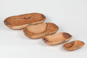 Olive Wood Oval Batik Bowl