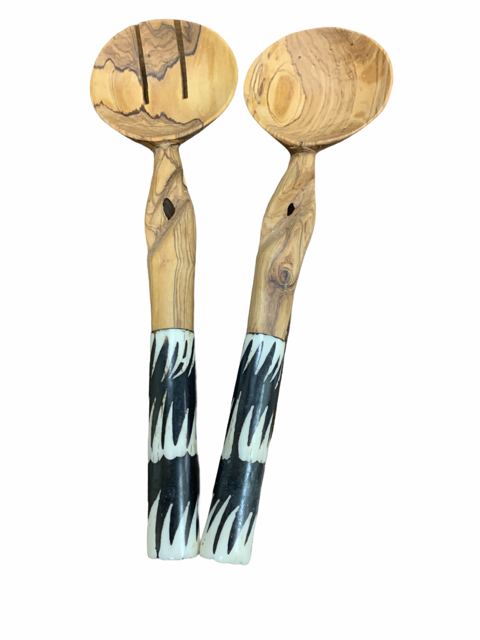 Twisted Eye Olive Wood Salad Set
