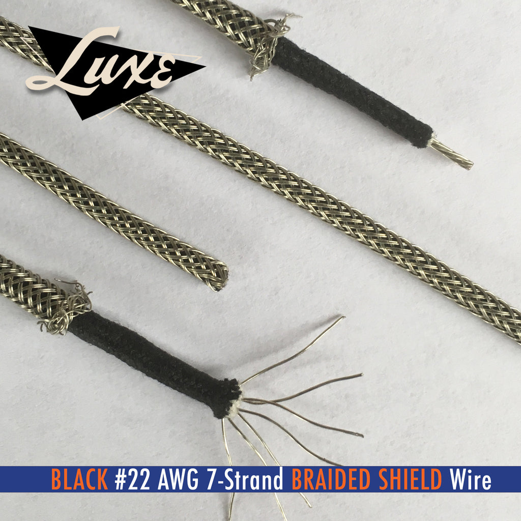 #22 AWG BLACK Cloth 7-Strand Copper Hook-Up Wire BRAIDED METAL SHIELD
