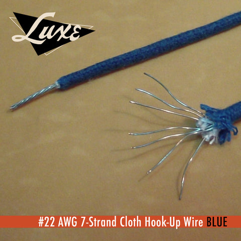 #22 AWG Cloth 7-Strand Copper Hook-Up Wire BLUE