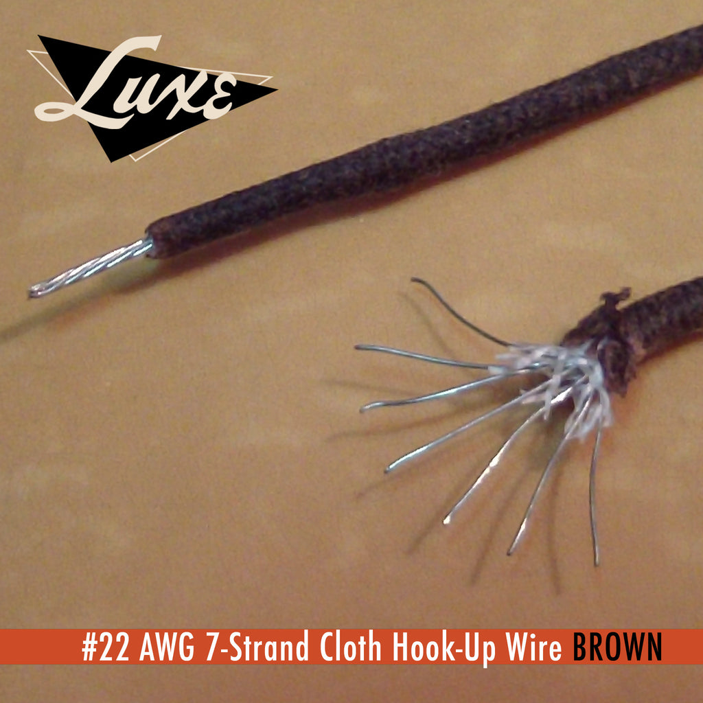 #22 AWG Cloth 7-Strand Copper Hook-Up Wire BROWN