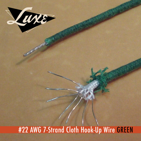 #22 AWG Cloth 7-Strand Copper Hook-Up Wire GREEN