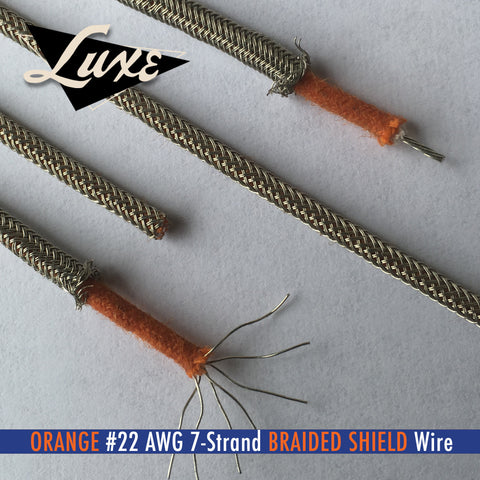 #22 AWG ORANGE Cloth 7-Strand Copper Hook-Up Wire BRAIDED METAL SHIELD