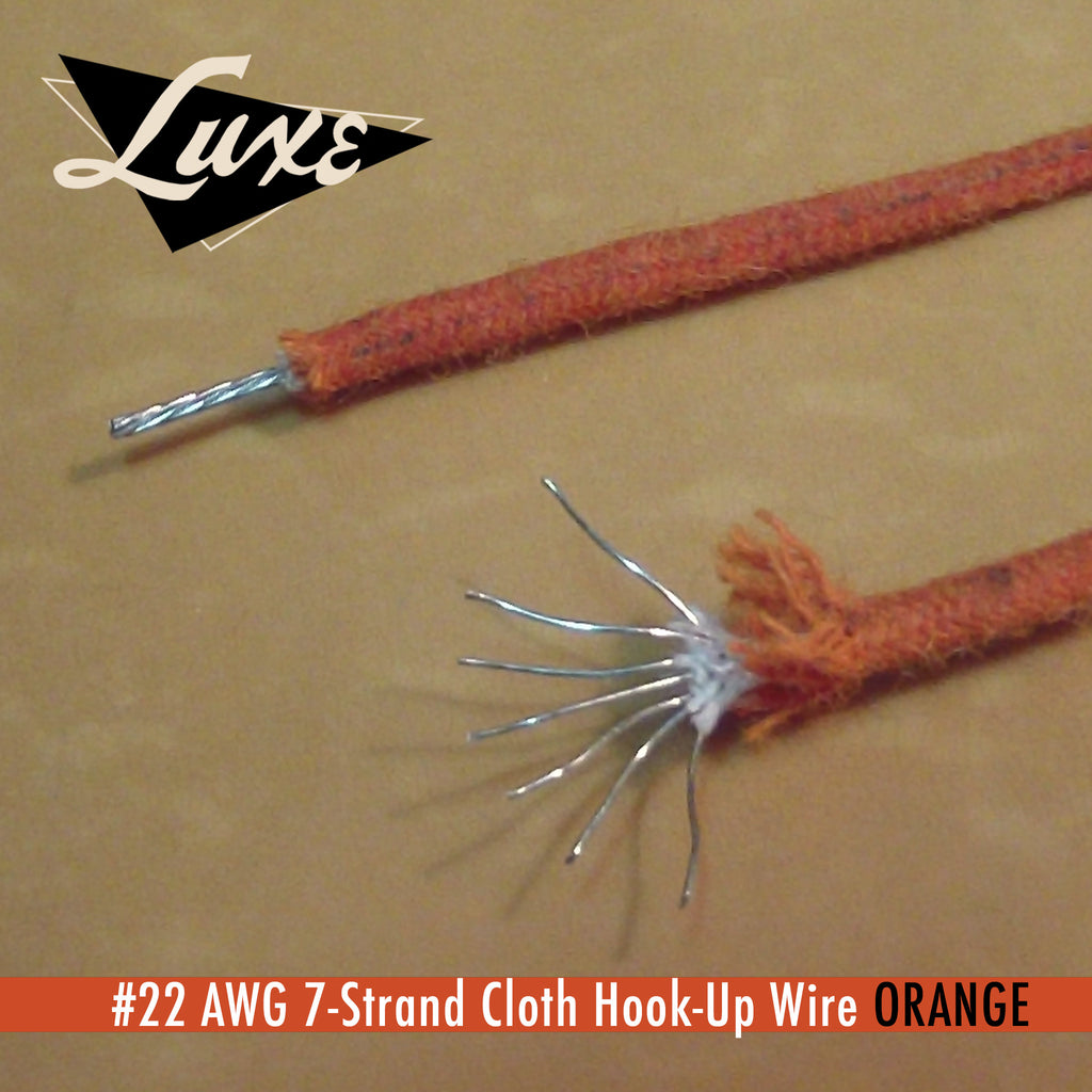#22 AWG Cloth 7-Strand Copper Hook-Up Wire ORANGE