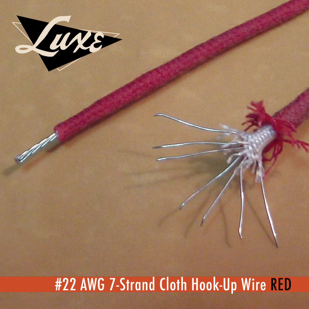 Wire/Tubing #22 AWG Cloth 7-Strand Copper Hook-Up Wire RED