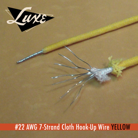 #22 AWG Cloth 7-Strand Copper Hook-Up Wire YELLOW