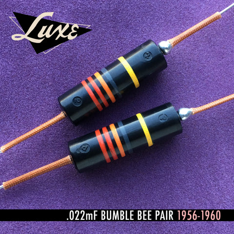 1956-1960 Matched Pair of Luxe Oil-Filled .022mF Bumblebee Capacitors