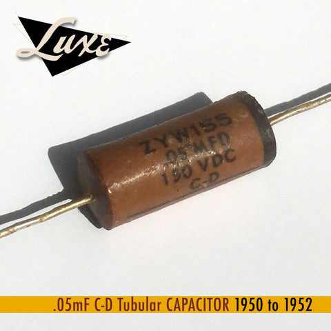 1950-1952 Esquire: Wax Impregnated Paper & Foil .05mF Capacitor and Resistor Kit