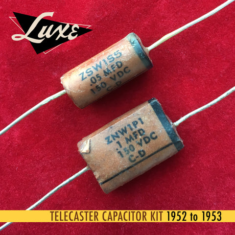 1952-1953 Telecaster: Wax Impregnated Paper & Foil .1mF & .05mF Capacitors