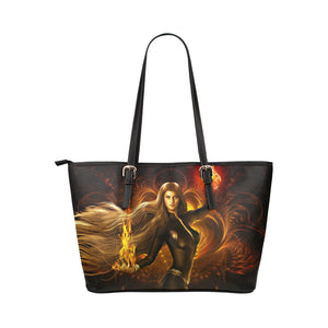 Fire Girl1 - Leather Tote Bag - TT-Shoes-N-ThingZ