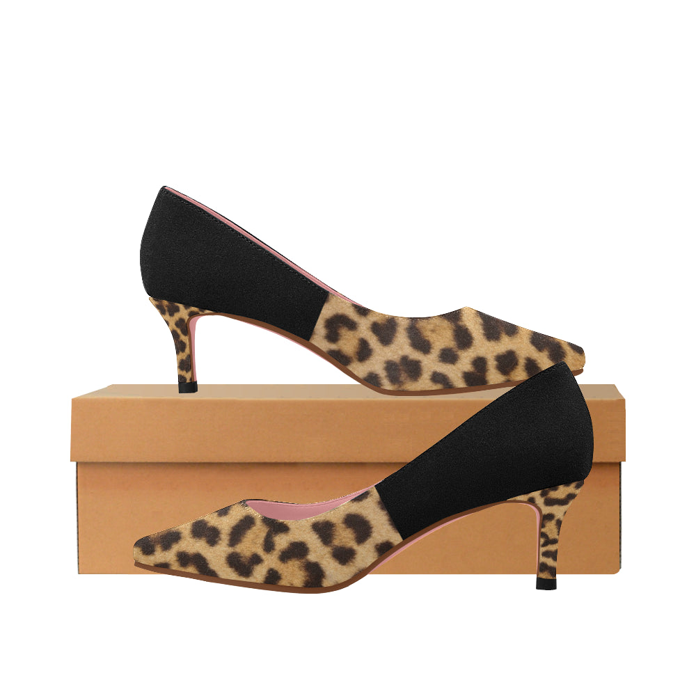 leopard-4 Pointy Toe Low Kitten Heel Pumps - TT-Shoes-N-ThingZ