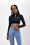 Zip Crop Top Noir