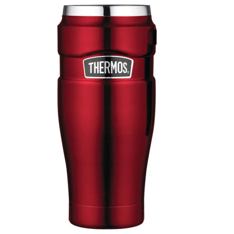 Thermos Stainless King Vacuum Insulated Travel Tumbler - 16 oz. - Stainless Steel/Cranberry [SK1005CRTRI4] - Youth Outdoor Adventure