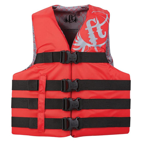 Full Throttle Teen Nylon Life Vest - 90lbs and Over - Red [112200-100-010-19] - Youth Outdoor Adventure