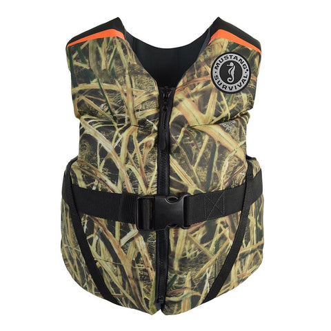 Mustang Rev Youth Foam Vest - 55-88lbs - Mossy Oak/Shadow Grass Blades [MV3570CM-261] - Youth Outdoor Adventure