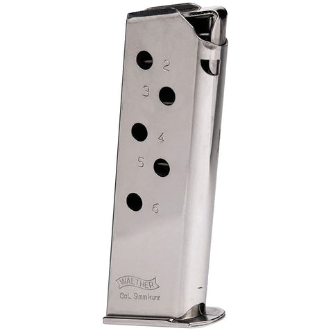 Walther Ppk Magazine 380 Acp Nickel 6 Rd. Standard