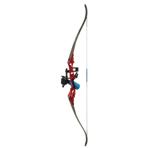 Fin Finder Bank Runner Bowfishing Recurve Package W-winch Pro Bowfishing Reel Red 35 Lbs. Rh