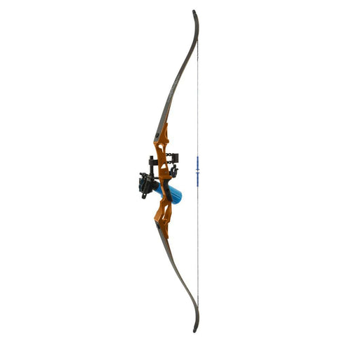Fin Finder Bank Runner Bowfishing Recurve Package W-winch Pro Bowfishing Reel Orange 35 Lbs. Rh