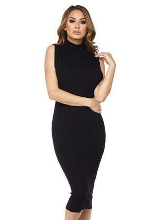 Sleeveless Turtlneck Sexy Midi Dress