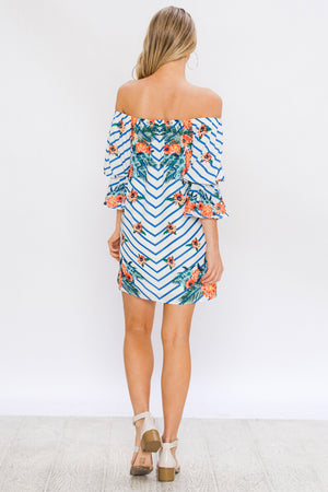 CHEVRON AND FLORAL PRINT SHIFT DRESS WITH BALLOON SLEEVE