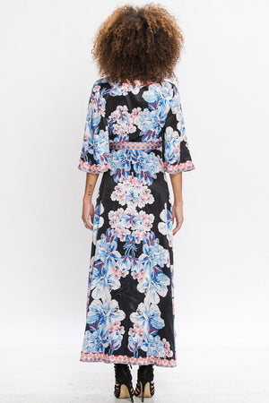 Silky Floral Wrap Dress with Contrast Trim