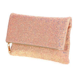 Glitter Fold-over Clutch (with Chain)