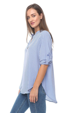 Blouse With Roll Tab Sleeves