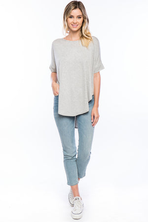Short Sleeve Roundneck High Low Top