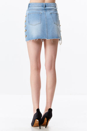 Chain Detail Denim Mini Skirt