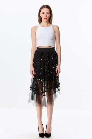Layered Mesh Midi Skirt with Dotted Pearls