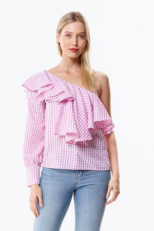 One Shoulder Ruffle Checkered Blouse