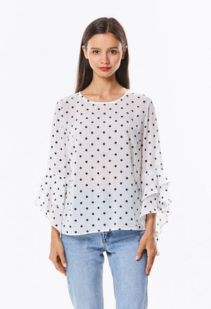 Polka Dot Bell Sleeve Blouse