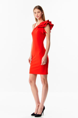 Side Ruffle BodyCon Dress