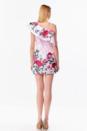 Satin Bodycon Dress with Floral Watercolor