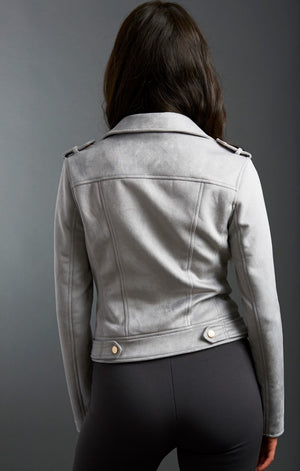 Faux Suede Side Zip Moto Jacket