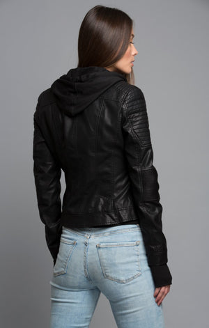 Jersey Hooded Moto Jacket