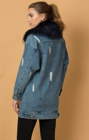 Long Denim Bomber with Removable Fur Collar