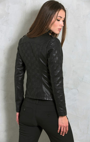 Side Zip Checkered Moto Jacket