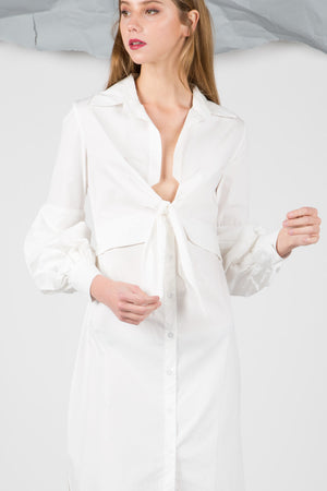 Deep V Tie Front Shirt Dress
