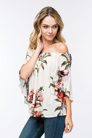 Off The Shoulder Floral Print Top