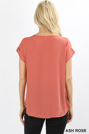 Boatneck Short Sleeve Relaxed Fit Blouse