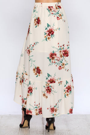 Floral Print High Low Skirt
