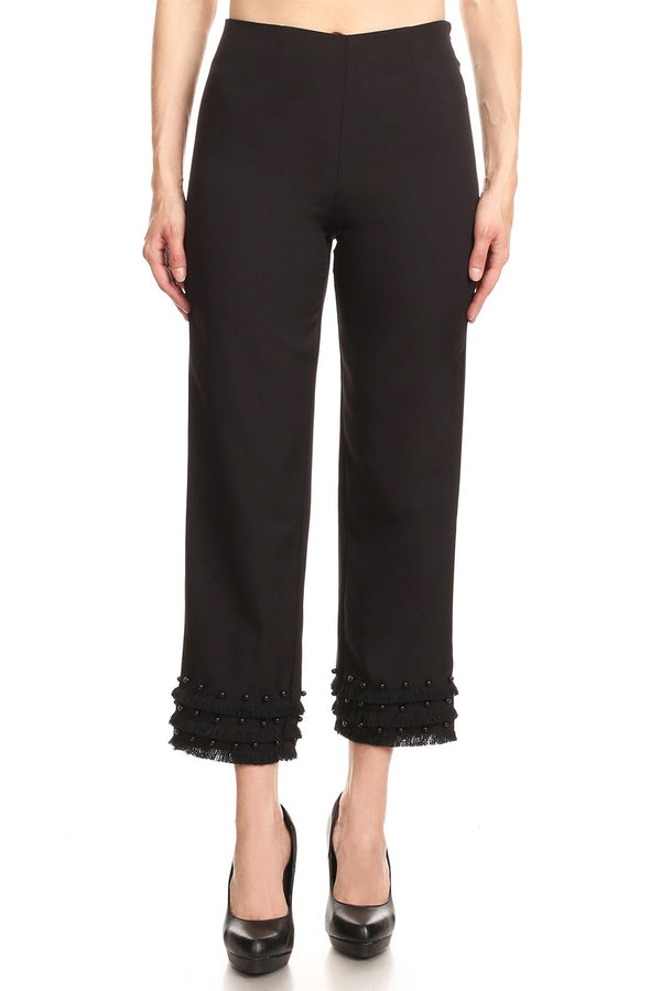 Highwaist Ankle Pant with Pearl Trim