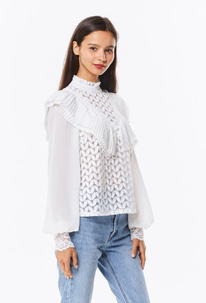 Layered Pleats Lace Blouse