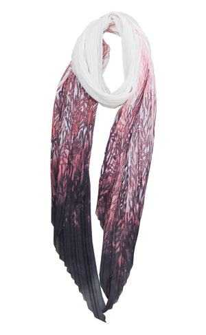 PLEATED CORAL PRINT SCARF