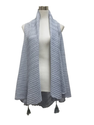 PLEATED TASSEL CHAMBRAY SCARF VEST