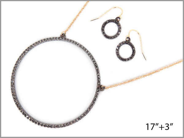 """O"" PENDANT PAVE NECKLACE"