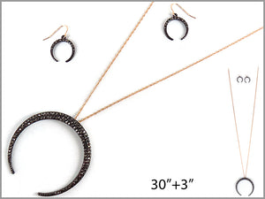 PAVE 3/4 MOON EARRINGS