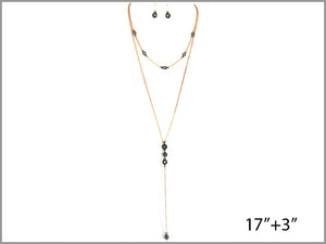 PAVE LAYERED DROPS Y-NECKLACE